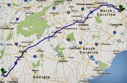 The trip's first leg, NC to AL