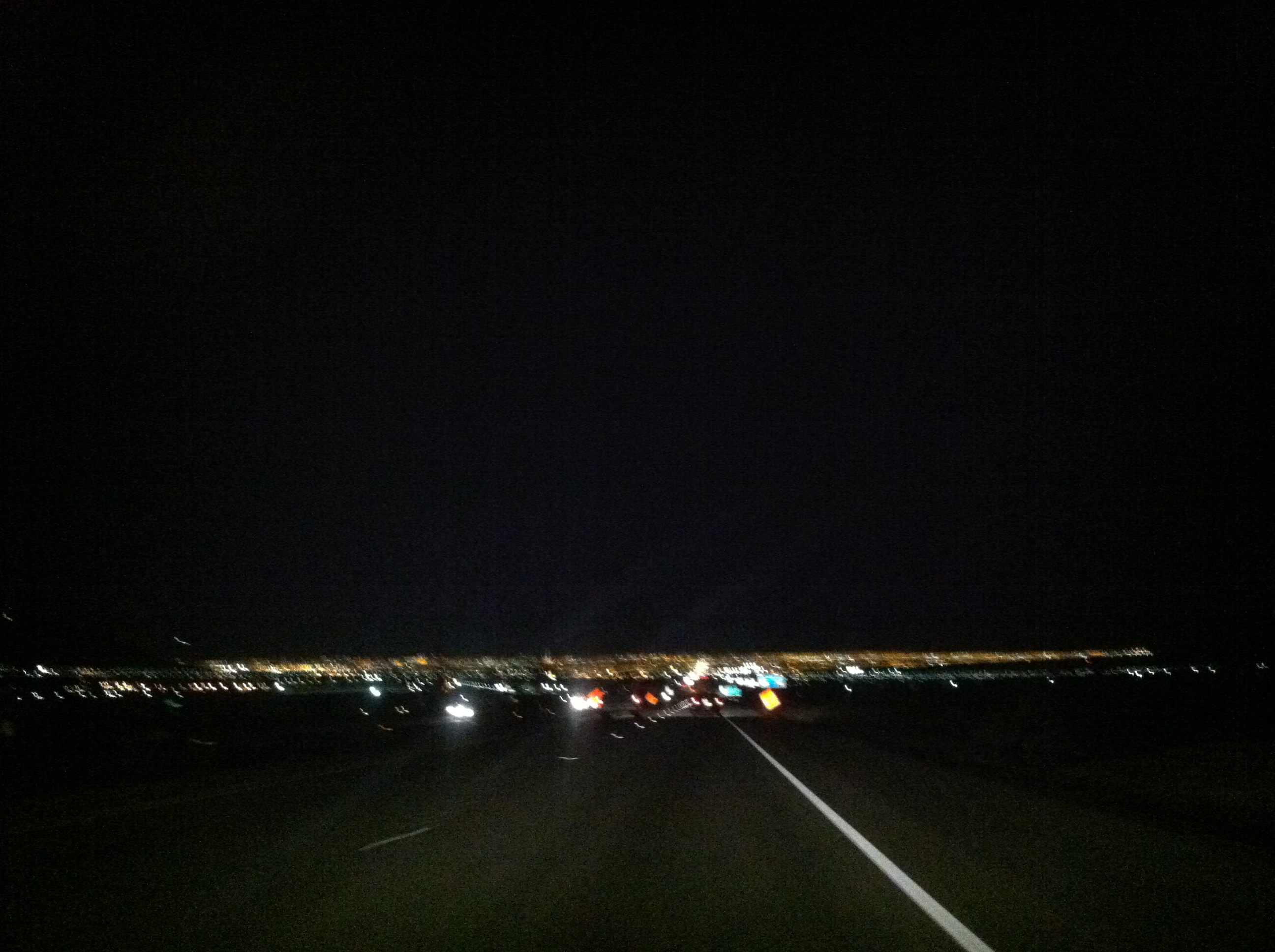 The blinking, blurry Vegas skyline.