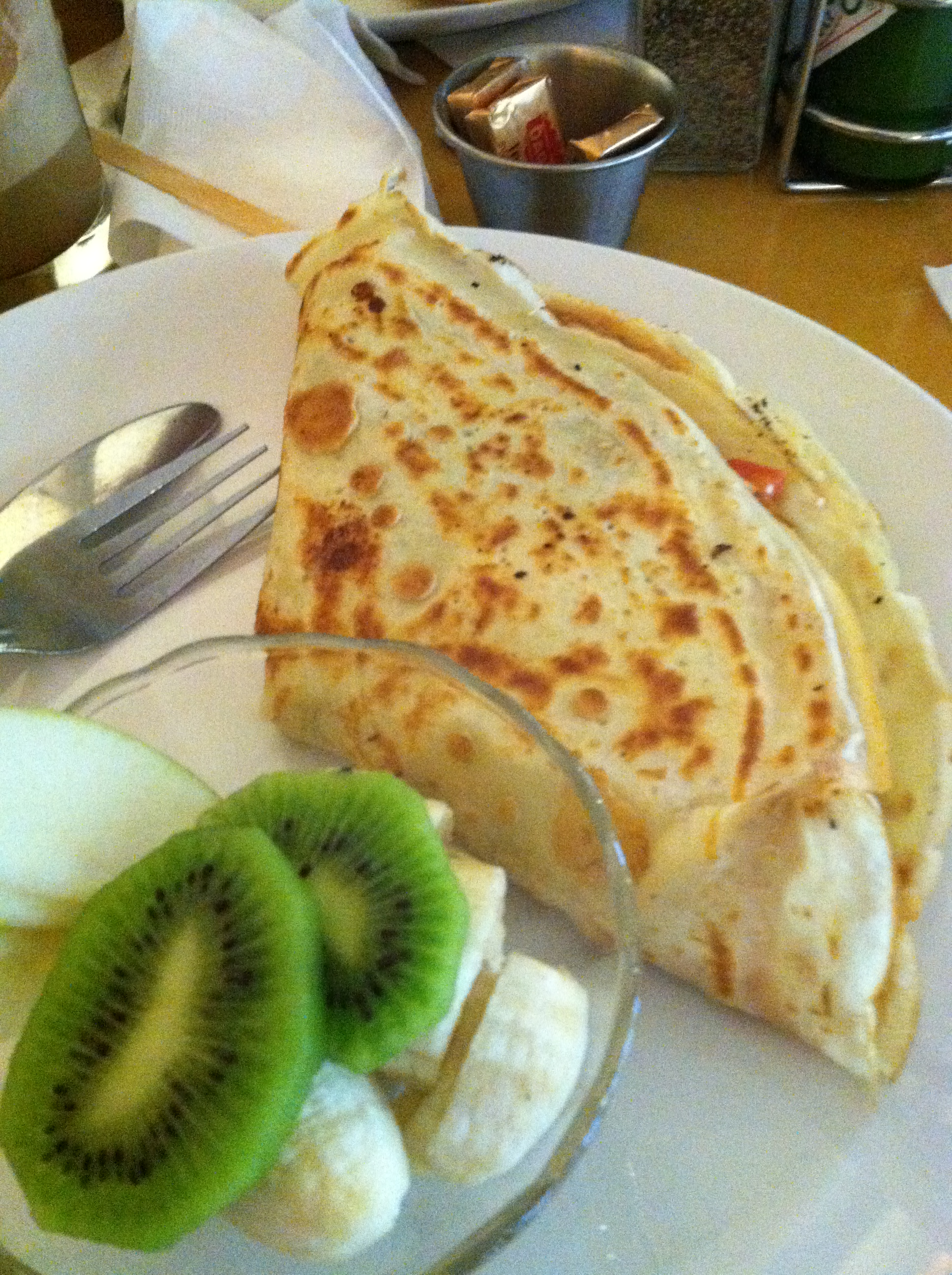 Crepes and fruit. Mmmm.