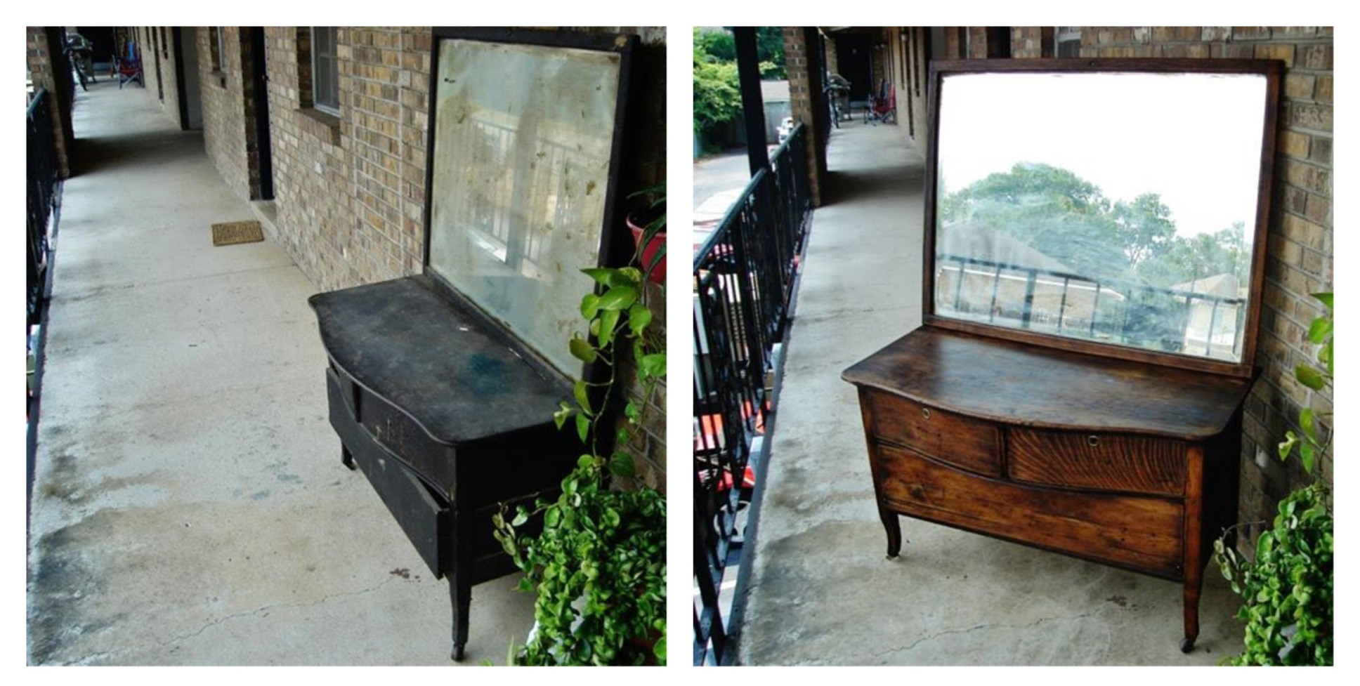 Before and after of one of my first refinishing projects--a flea market steal! It's still one of my favorites.